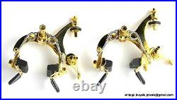 Vintage LUXURY Race Bike Eroica Campagnolo SUPER RECORD BRAKES CLIPS GOLD PLATED