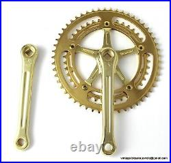 Vintage Race Bike Campagnolo NUOVO RECORD CRANKSET CHAINSET GOLD PLATED