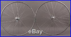 Vintage Tubular Road Bike Wheels with Campagnolo Record 36 Hole Hubs Silver